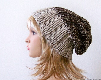 Knitting PATTERN, Knit Slouchy Beanie Pattern, Slouchy Hat Pattern, Watchman Hat Pattern, Slouch Beanie Hat Pattern