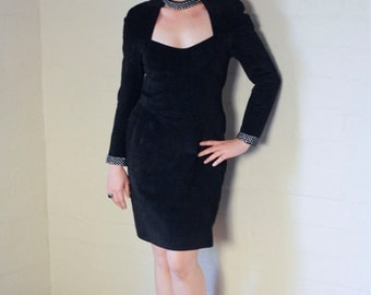 Vintage 90s Super Sexy Black Suede Long Sleeve Dress With Rhinestones - Size Medium