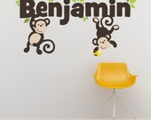 Custom Name Monkey and Leaves Printed Fabric Repositionable Wall Decal