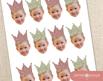 Photo Cupcake Toppers (Glitter Princess Crown Design) Digital File - Other Glitter Colors Available!
