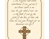 GALATIANS 2:20 - 8x10 Hand Written Calligraphy Art Print Natural Parchment Sepia Brown Beige Tan Christ Crucified Son of God Celtic Cross
