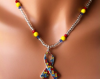 Autism awareness pendant necklace red yellow blue ribbon puzzle piece jewelry
