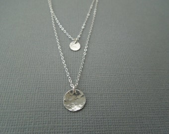 sterling silver necklace, dainty silver necklace, delicate necklace, silver medallions, hammered discs, simple layering necklace, N76