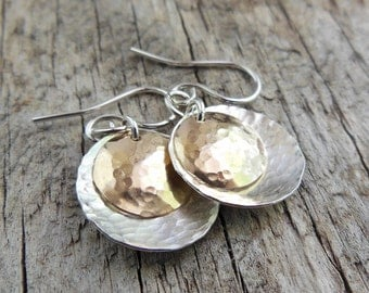 Silver Earrings - Silver and Gold - Dangle Earrings - Hammered texture- Silver and Gold Earrings