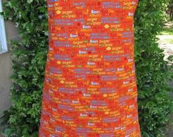 Orange BBQ Apron, handmade apron