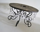 """Outdoor Chic Wood and Crystal Scroll 15.5"""" Cake Stand MADE TO ORDER"""