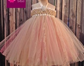 Sweet Sophistication Flower Girl Dress, shown in Champagne and Gold with pops of Coral Pink