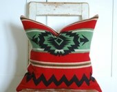 Cabin Chic, Wool Pillow, Native American, Red Wool Pillow, NOT associated  with Pendleton Woolen Mills located in Pendleton, Oregon