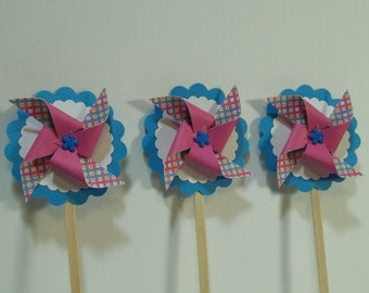 Mini Pinwheel Cupcake Toppers--1.00 each.  Pink, White-Turquoise-set of 12