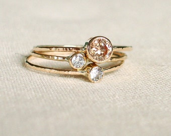 Delicate 14k Gold Birthstone Stack Rings - Mother and Children Rings - Select Three Stones - Solid 14k White or Rose or Yellow Gold