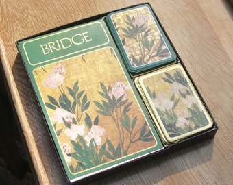 Asian Peonies Caspari Bridge set, green and gold Botanical theme, 2 decks, Belgium