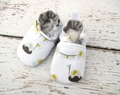 Organic Vegan Elephant Party  All Fabric Soft Sole Baby Shoes / Made to Order / Babies Bunting
