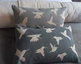 hand printed little kingfisher cushion cover