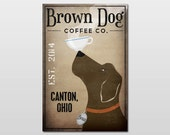 PERSONALIZED Brown Dog Coffee Company graphic art Canvas Wall Art Signed