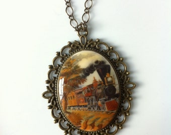 Vintage German Train Cameo Pendant Necklace