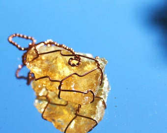 Translucent Citrine Slice Pendant in a Copper Wire Wrap