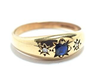 Victorian Sapphire & Diamond 9K Wedding Ring -  Size 6.5 -  1879