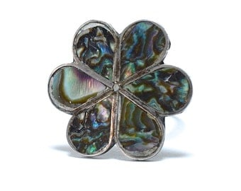1970s Taxco Mexico Hippie Flower Abalone & Sterling Silver Ring - Adjustable Size