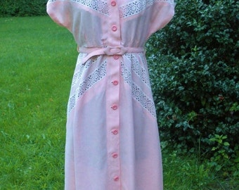 Vintage 1970s Pink Belted Dress with Lace Insets