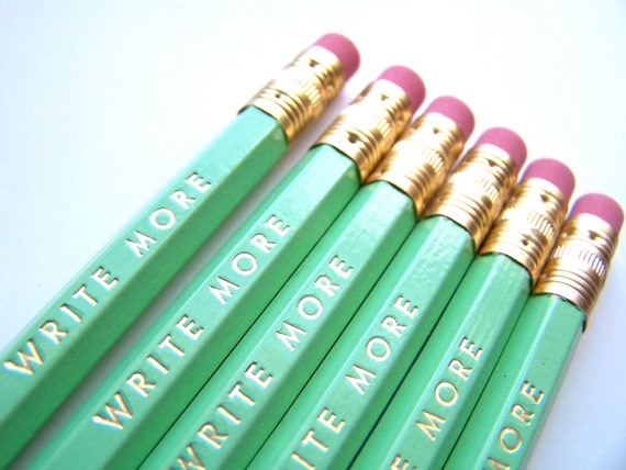 6 PENCILS - write more mint green hex pencils w/ kraft pencil box - Motivational funny pencil set with gold text