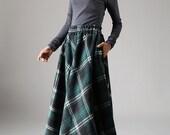 plaid skirt,grid skirt, wool skirt, maxi skirt, full skirt, winter skirt, unique skirt,  pocket skirt, womens skirts, handmade skirt 1089