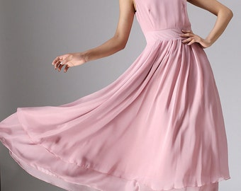 Pink maxi chiffon summer wedding dress (966)