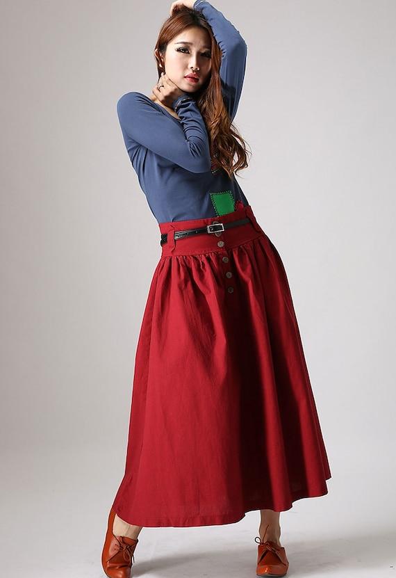long skirt, A line skirt, womens maxi skirt, pleated skirt, red skirt, modern clothing, button skirt, summer skirt, linen skirt   (876)