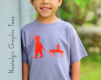 SALE! 30% OFF! Boy with a Wagon Nostalgic Graphic Tee Shirt in Short Sleeves - Slate with Red Free Shipping2
