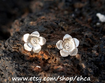 Handmade Sterling Silver Post Flower Earrings