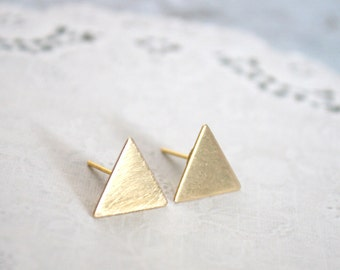 Stud Earrings | Geometric | Brushed Brass Triangle Studs