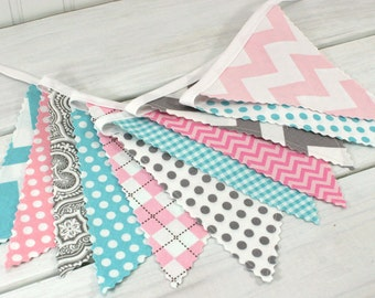 Bunting,Banner,Fabric Flags,Girl Nursery Decor,Photography Prop,Garland,Pennant,Home Decor,Pink,Gray,Aqua Blue,Grey,Chevron,Dots