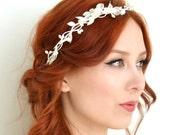 White flower crown, dainty crown, bridal leaf headband, whimsical wedding crown, floral crown, hair accessories - whisper of spring