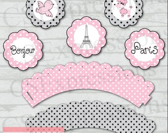 Paris Poodle Cupcake Toppers and Wrappers