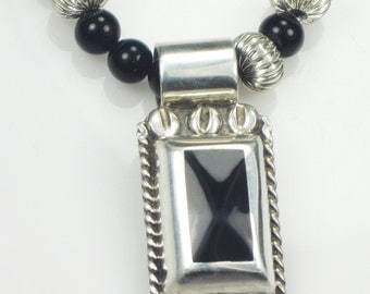 Vintage Set - Mexican Sterling Silver Onyx Pendant w/Onyx Beads Necklace & Matching Earrings