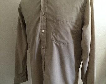 Vintage Men's 80's Christian Dior, Shirt, Tan, Long Sleeve, Button Up (L)