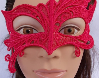 Abstract Embroidered Hot Pink Lace Mask