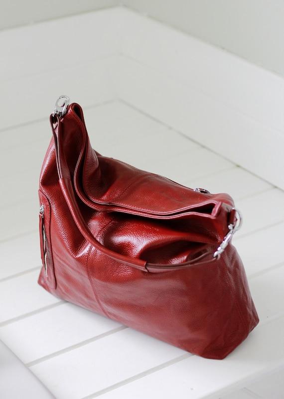 Leather hobo bag, leather purse, leather shoulder bag MAX in burgundy