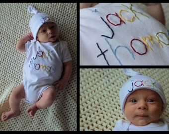Personalized Name Baby Boy Onesie, Tie Knot Hat, Name Hat, Hand Embroidered, Personalized Onesie, Coming Home Outfit, Newborn Boy
