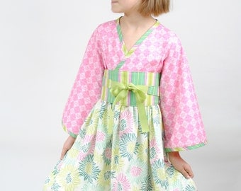 Girl's Kimono Dress, Girls Clothing, Kimono, Toddler Kimono, Flower Girl Dress, Toddler dress, Girl Dresses, pink dress, size 2T 3 4 5 6 7 8
