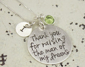 Thank You for Raising the Man of My Dreams -personalized necklace for groom's mom - mother in law gift - wedding gift - wedding necklace
