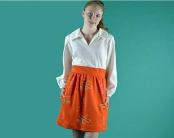 Vintage 60s Dress MOD Twiggy Mini Dress High Waist Full Skirt Novelty Retro Print 1960s Mod Festival Minidress Hipster 70s Dress M / L