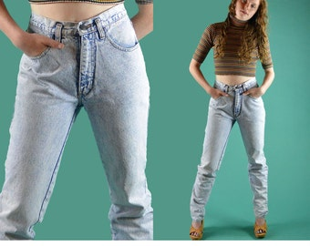 80s VTG High Waisted Jeans PEPE Acid Wash Faded Snow Wash High Waist Taper Leg Jeans Skinny Ankle Boyfriend Fit Denim Blue Jeans Waist 30