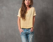 Yellow woven top with black splatter- woven t-shirt with fold-up sleeves