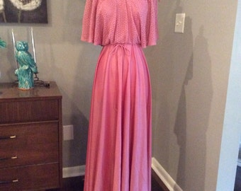 Vintage 70s 1970s dusty rose Pink Maxi Dress - small - on / off shoulder - boho