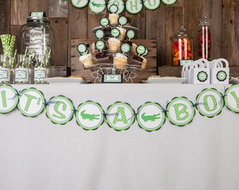Alligator Baby Shower Banner -  ITS A BOY Party Sign - Alligator Theme Shower Decorations in Navy Blue and Green