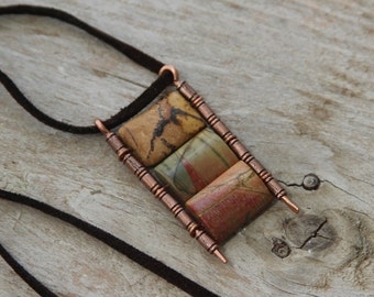 Multicolor Tribal pendant geometric earth Jasper Picasso on suede casual necklace handmade Israel