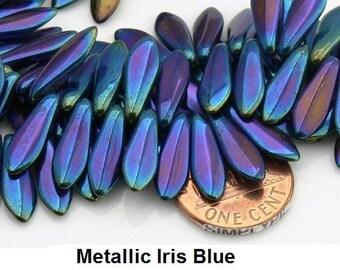 Iris Blue Dagger Czech Glass Beads 16mm 25