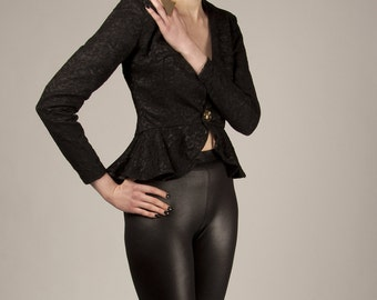 Lace peplum jacket Black peplum jacket Vintage style jacket