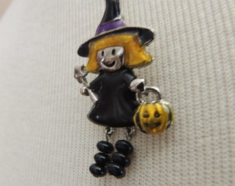 Large Halloween Black Witch Pin. Holiday Witch Brooch. Blonde Witch With Wand and Pumpkin Pin