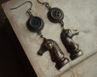Vintage Button and Chess Knight Earrings - Gallant Riders